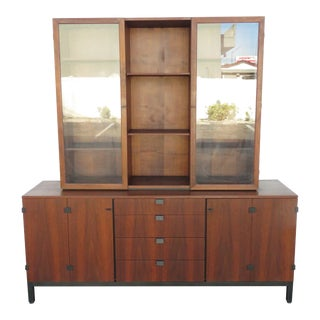 Mid Century Modern 2 Part China Display Cabinet Credenza Sideboard For Sale