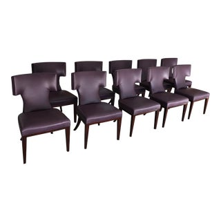 Modern Klismos Eggplant Leather Dining Chairs- Set of 10 For Sale
