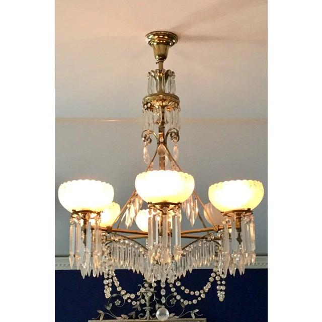 Antique Brass & Crystal Chandelier For Sale - Image 4 of 10