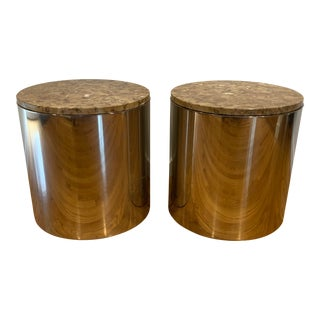 1980s Contemporary Paul Mayen for Habitat Chromed Cylinder Side Tables - a Pair For Sale