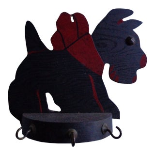 Vintage Scottish Terrier Dog Key Rack With Hooks For Sale