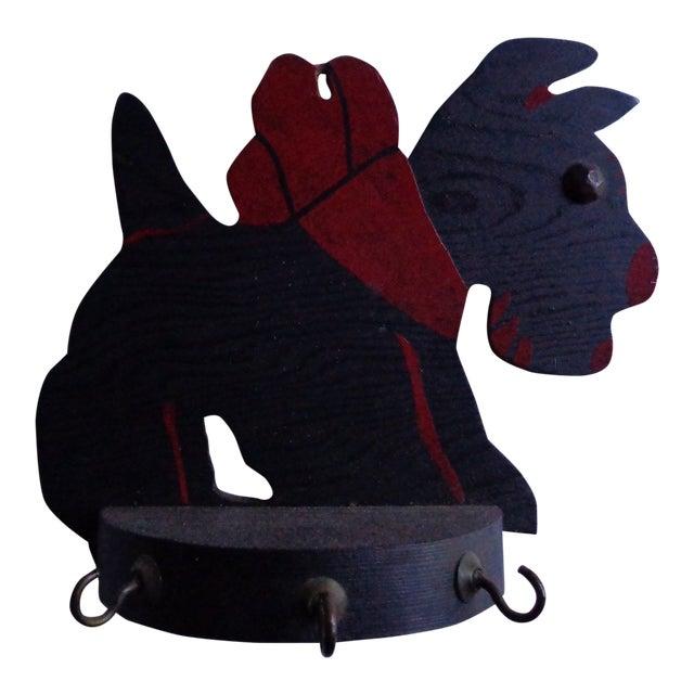 Vintage Scottish Terrier Dog Key Rack With Hooks For Sale