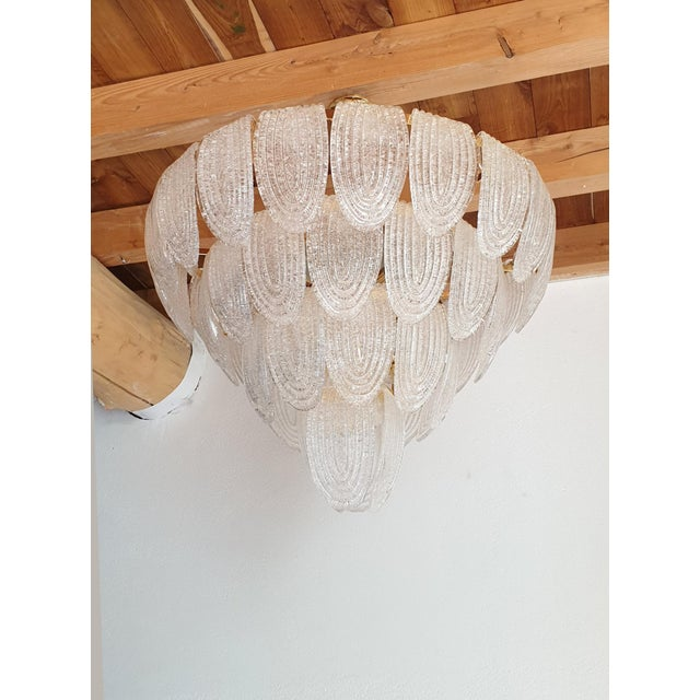 Large Mid-Century Modern Murano Glass Chandelier by Mazzega For Sale In Boston - Image 6 of 12
