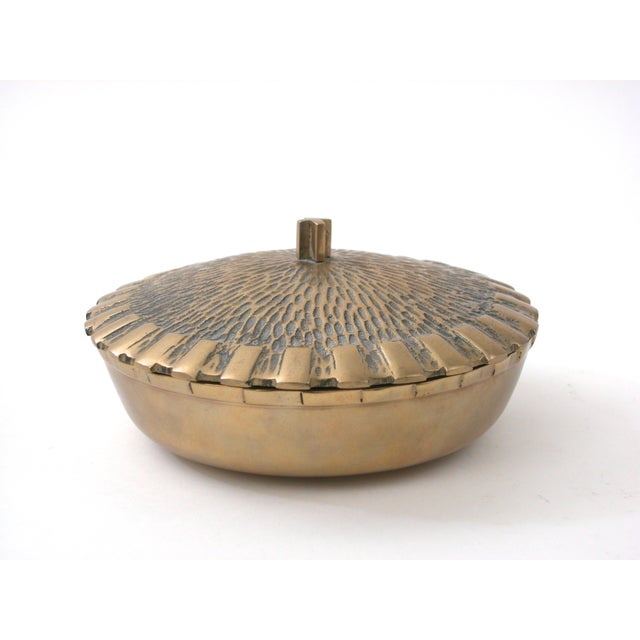 Brass Bowl with Faux-Thatch Lid - Image 8 of 8