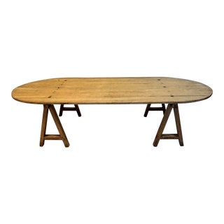 Vintage Oval Planked Farmhouse Coffee Table by Fernand Nathan-Paris For Sale