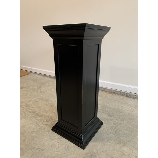 Vintage Squared Detailed Wood Rustic Black Plant Stand Column Pedestal With Widened Ends For Sale In Lexington, KY - Image 6 of 6