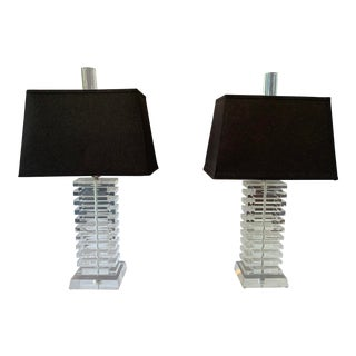 Stacked Lucite Table Lamps - a Pair For Sale
