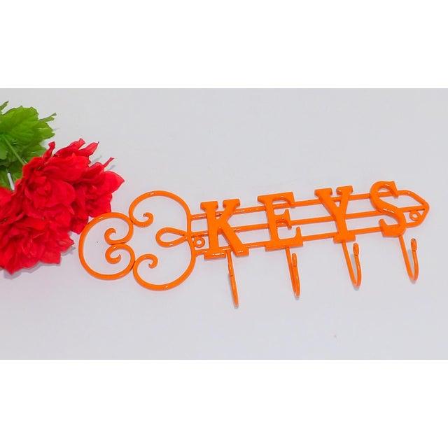 Modern Modern Orange Wrought Iron Key Hook Holder For Sale - Image 3 of 5