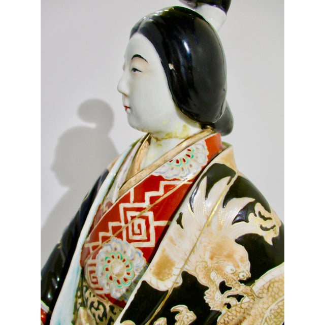 1900 - 1909 Japanese Kutani Porcelain Geisha Figure For Sale - Image 5 of 12