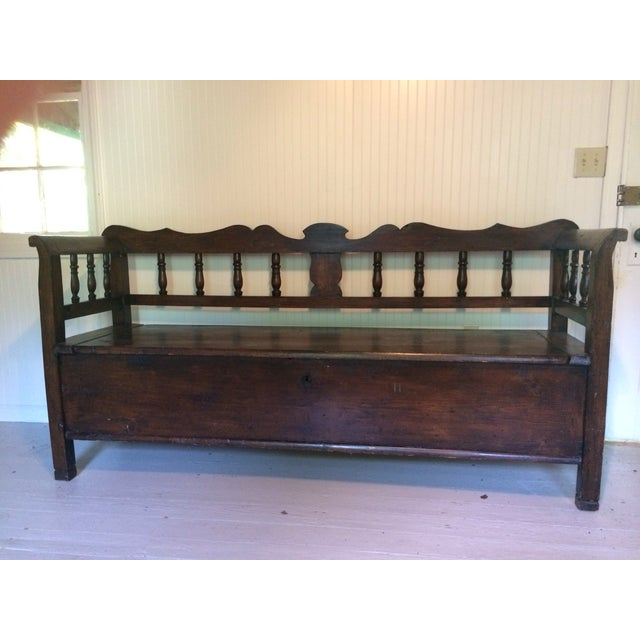 Antique European Hall Bench With Storage - Image 8 of 8