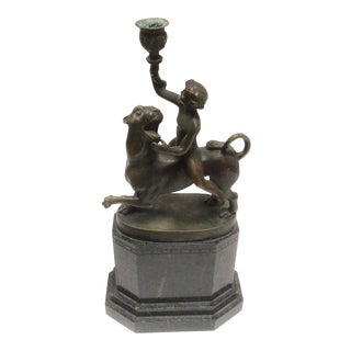 Grand Tour Bronze of a Figure Riding a Lion For Sale