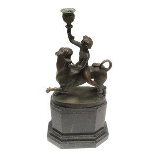 Grand Tour Bronze of a Figure Riding a Lion For Sale