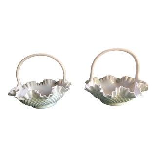 Vintage Fenton Hobnail Milk Glass Handled Baskets - a Pair For Sale