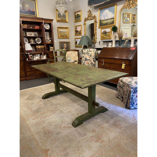 Farmhouse Antique Farmhouse Distressed Green Dining Table For Sale - Image 3 of 5