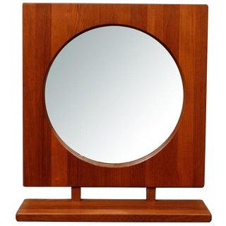 Danish Teak Table or Wall Mirror with Shelf: Pedersen and Hansen 1960s