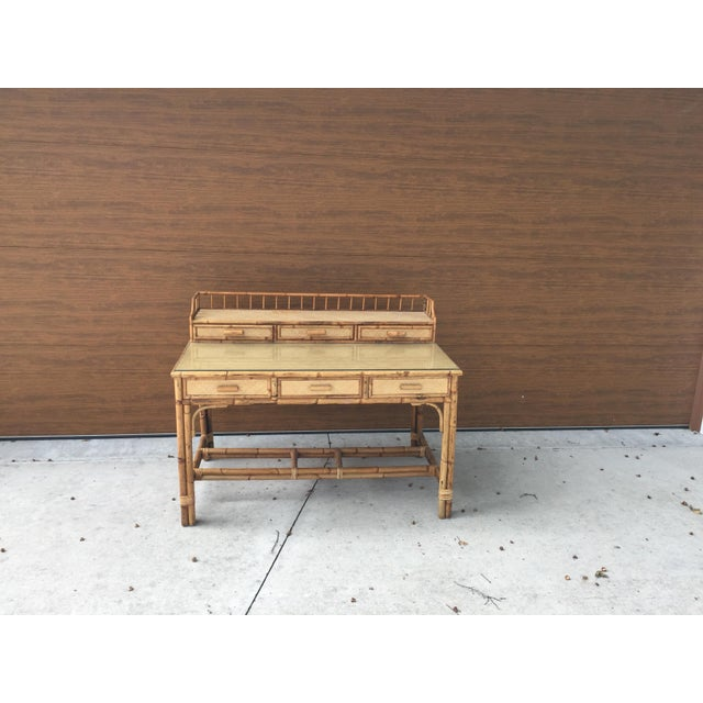 Brown 1950s Boho Chic Palm Beach Regency Bamboo & Rattan Desk For Sale - Image 8 of 9