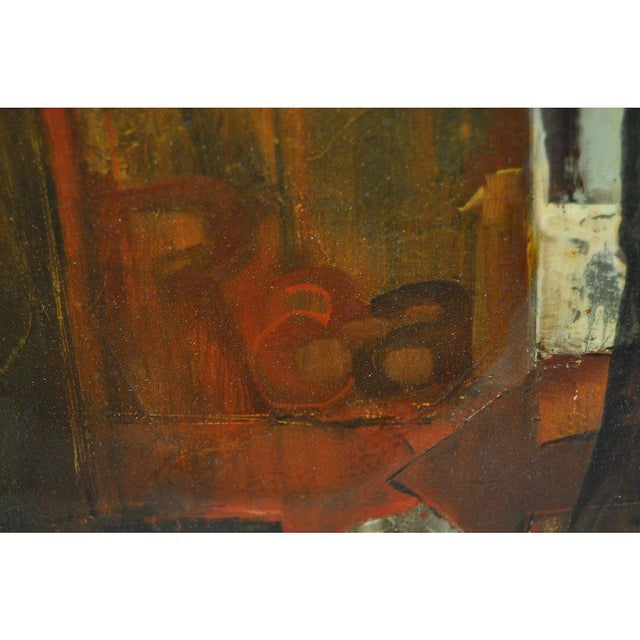 """1960's Gordon Corson """"Cargo East"""" Vintage Acrylic Painting For Sale - Image 4 of 8"""