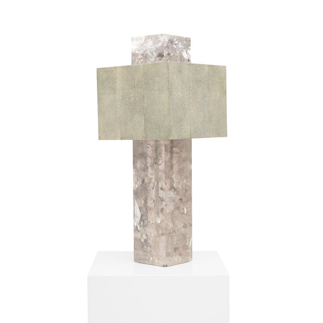"""2010s """"Shagreen on the Rock"""" Square Table Lamp by Sylvan San Francisco For Sale - Image 5 of 5"""