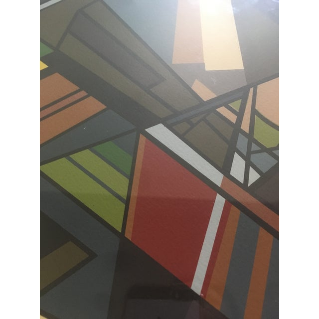 """Gray Vintage Mid-Century Modern Abstract Geometric """"African Landscape I"""" Lithograph Print For Sale - Image 8 of 10"""