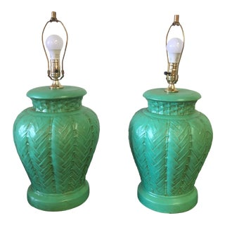 Vintage Ceramic Turquoise Colored Lamps - a Pair For Sale