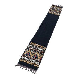 """Velvet Suzani Bohemian Floral Design Table Runner - 8'1"""" x 1'2"""" For Sale"""