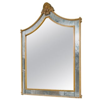 Large 1940s Hollywood Regency Shell Mirror For Sale