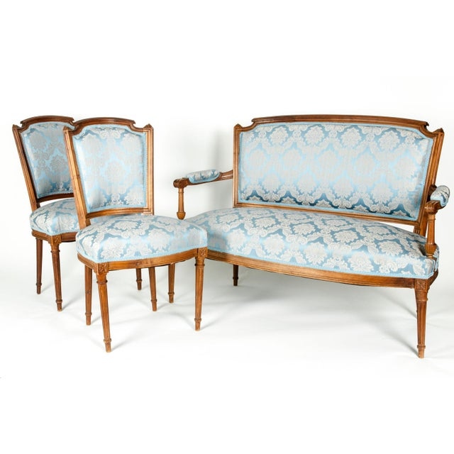 Antique French Settee With Chairs Seating Set - 3 Pc. Set For Sale - Image 12 of 13