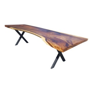 Marbled Acacia Wood Live Edge Dining Table