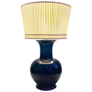 Vintage Jean Roger Blue Glazed Ceramic Lamp