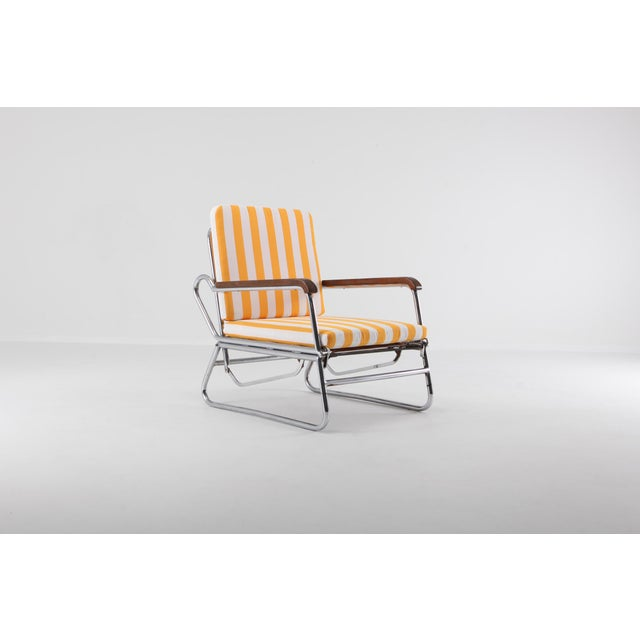1950s Tubular Chrome Lounge Chair For Sale - Image 5 of 11