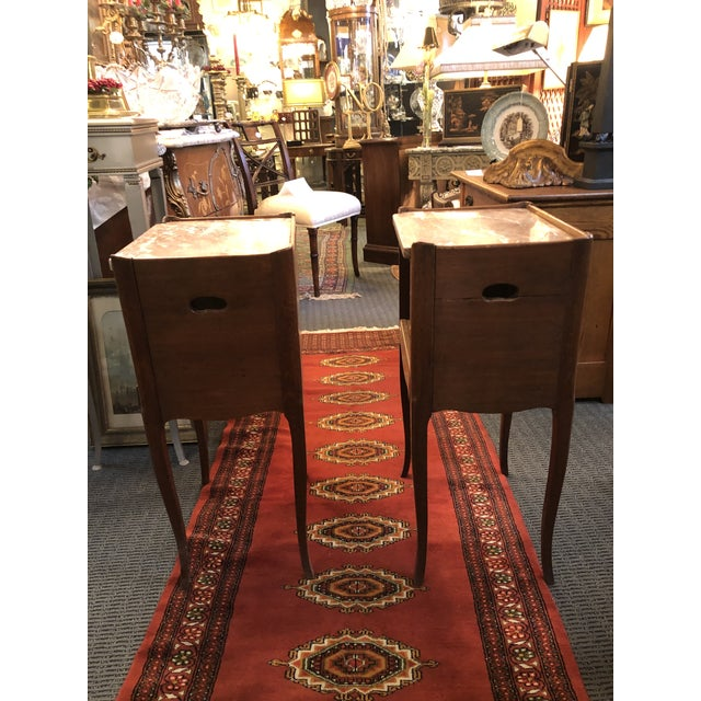 Pair of Antique French Early 19th Century End Tables with Breche d'Alep Marble Tops and One Drawer Each as Shown. The tops...