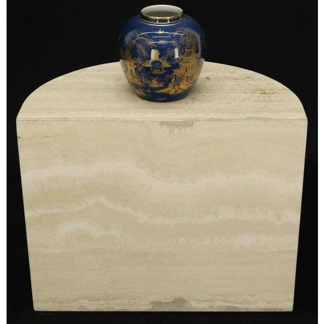 Demilune Travertine Half Round Console Table For Sale - Image 11 of 12