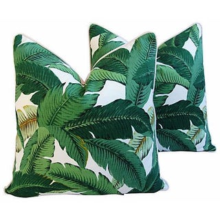 "Beverly Hills Iconic Banana Leaf Feather/Down Pillows 24"" Square - Pair For Sale"