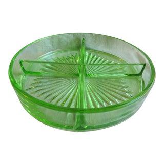 Vintage Circa 1930s Paden City Four Part Divided Relish Dish Depression Vaseline Glass For Sale