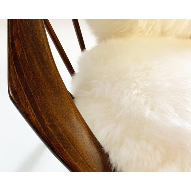 1960s Ib Kofod-Larsen Bentwood Lounge Chairs With Brazilian Sheepskin Cushions For Sale - Image 5 of 7