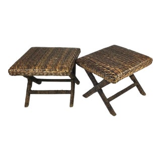 Natural Woven X Base Benches with Wrapped Rattan Legs - A Pair For Sale
