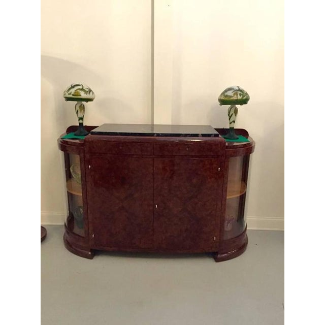 Brown French Art Deco Buffet with Portoro Marble Top For Sale - Image 8 of 9