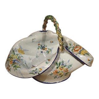 Antique French Faience Basket Circa 1900 For Sale