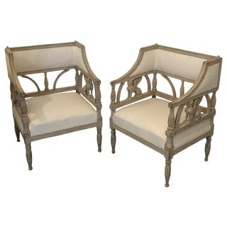 Mid 19th Century Vintage Swedish Empire Style Chairs- A Pair For Sale