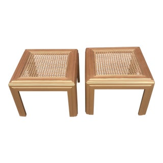 Lane Glass Top End Gold Painted Side Tables - a Pair For Sale