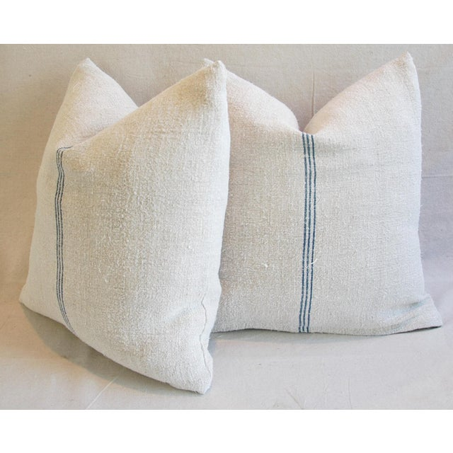 Custom French Grain Sack Down & Feather Pillows - Pair - Image 9 of 9