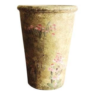 Vintage Hand-Painted Terra Cotta Vase For Sale