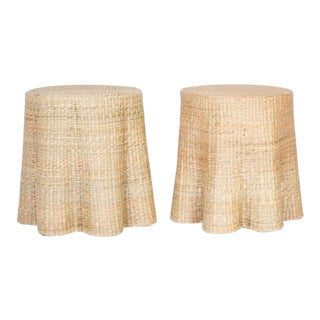 Trompe-L'œil Round Wicker Drapery Ghost Tables - a Pair For Sale