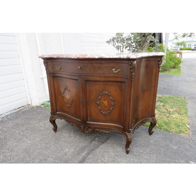 French Early 1900s Marble Top Commode Server Buffet Bathroom Vanity For Sale - Image 11 of 13