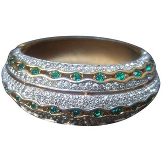 Jomaz Exquisite Crystal Encrusted Gilt Metal Hinged Bangle C 1970 For Sale