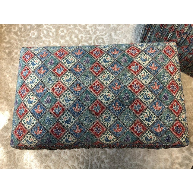 Boho Chic Custom Upholstered Poof Ottomans - Pair For Sale - Image 3 of 7