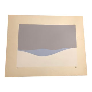 Grey, Light Blue & White Minimalist Hand Painted Serigraph 6/24 by Geoffrey Graham For Sale