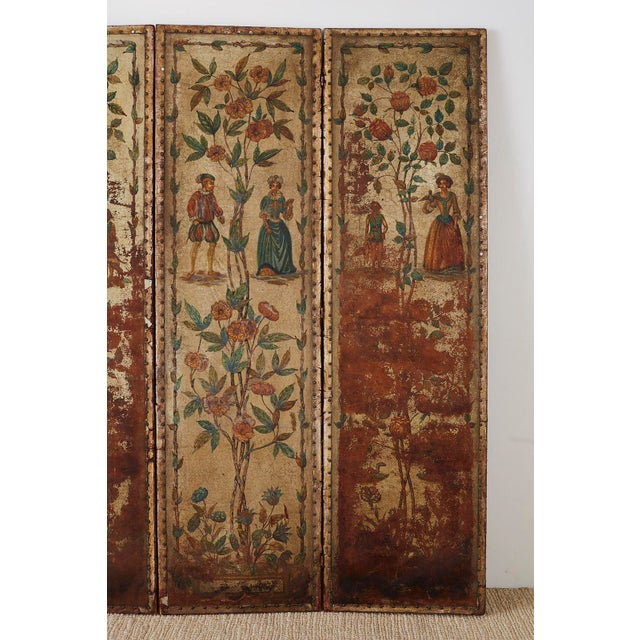19th Century 19th Century English Renaissance Revival Leather Painted Screen For Sale - Image 5 of 13