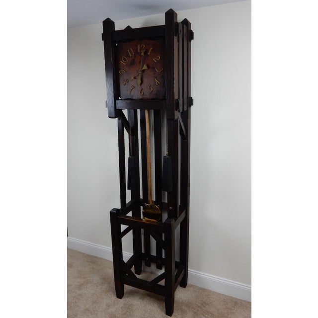 Oak Antique Mission Arts & Crafts Tall Clock For Sale - Image 7 of 11
