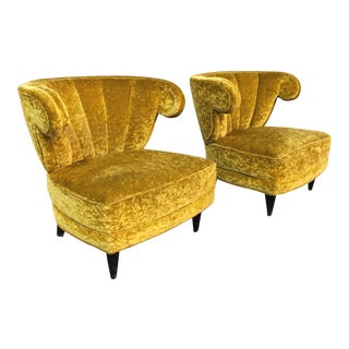 1950s Mid Century Modern Paul Laszlo Scroll Arm Lounge Chairs - a Pair For Sale